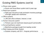 existing rmo systems cont d