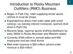 introduction to rocky mountain outfitters rmo business