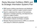 rocky mountain outfitters rmo and its strategic information systems plan