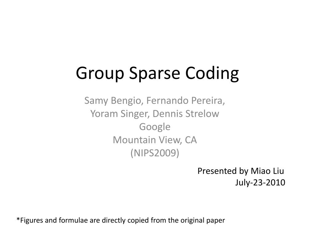 group sparse coding l.