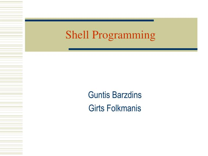 shell programming n.
