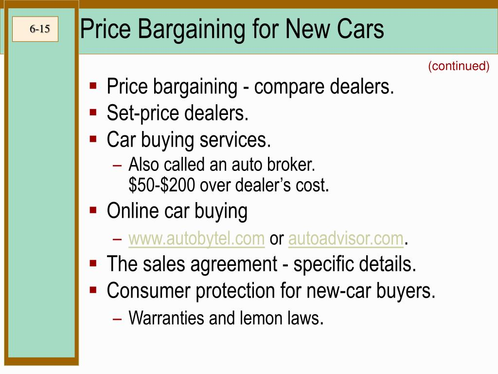 Price Bargaining for New Cars