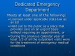 dedicated emergency department