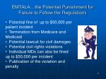 emtala the potential punishment for failure to follow the regulations