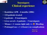 tourniquets clinical experience