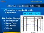 effective tire radius observer