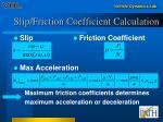 slip friction coefficient calculation
