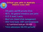 critical care units in australia anzics review 2000