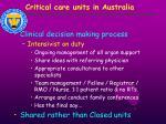 critical care units in australia