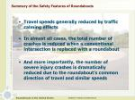 summary of the safety features of roundabouts