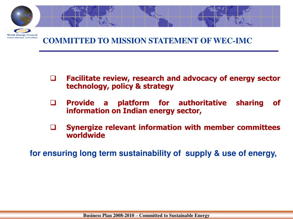 COMMITTED TO MISSION STATEMENT OF WEC-IMC