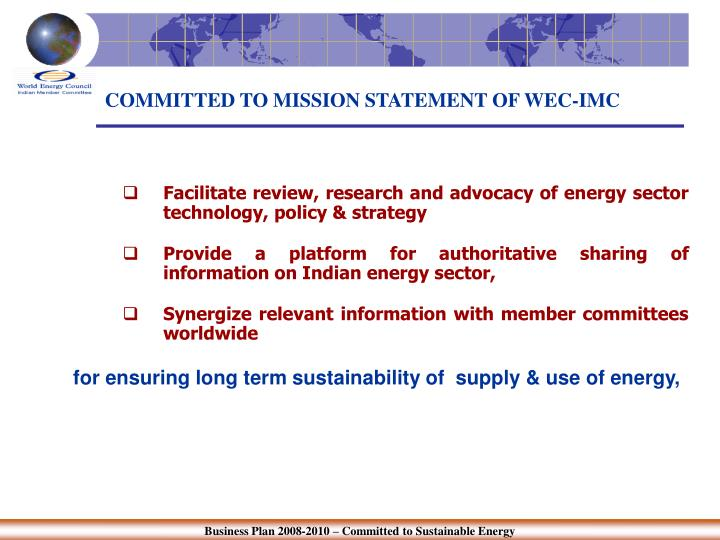 Committed to mission statement of wec imc