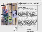 letter from julian lancaster