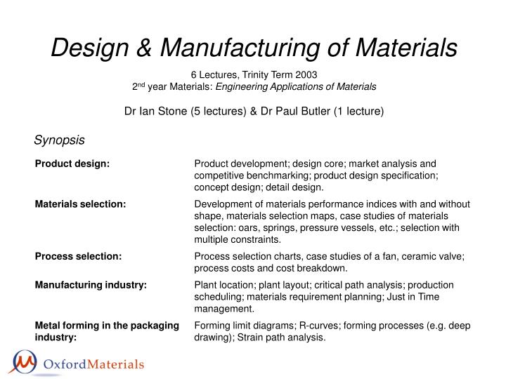 design manufacturing of materials n.