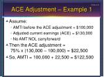 ace adjustment example 1