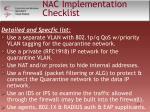 nac implementation checklist