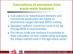 calculations of emissions from waste water treatment