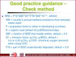 good practice guidance check method
