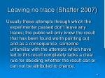 leaving no trace shaffer 2007