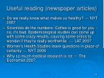 useful reading newspaper articles