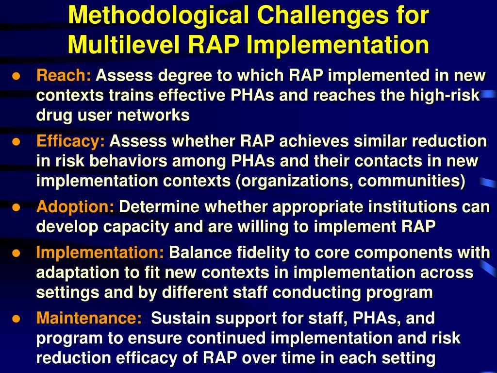 Methodological Challenges for Multilevel RAP Implementation