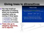 giving trees to ditransitives