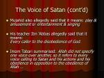 the voice of satan cont d