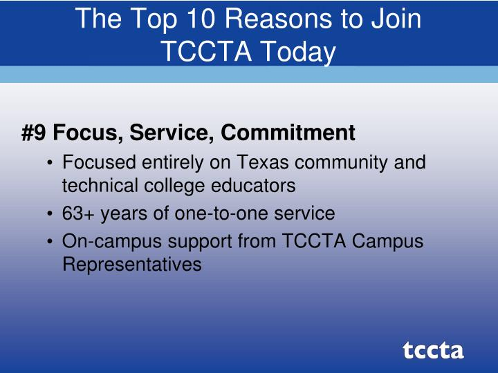 The top 10 reasons to join tccta today3