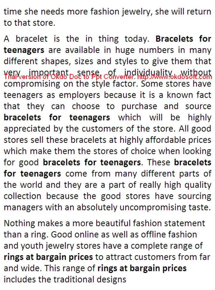Fashion jewelry for teenagers at exclusive prices
