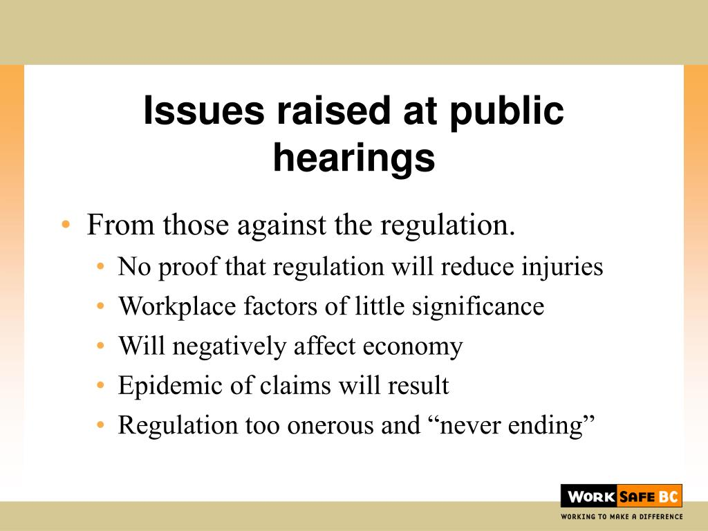 Issues raised at public hearings
