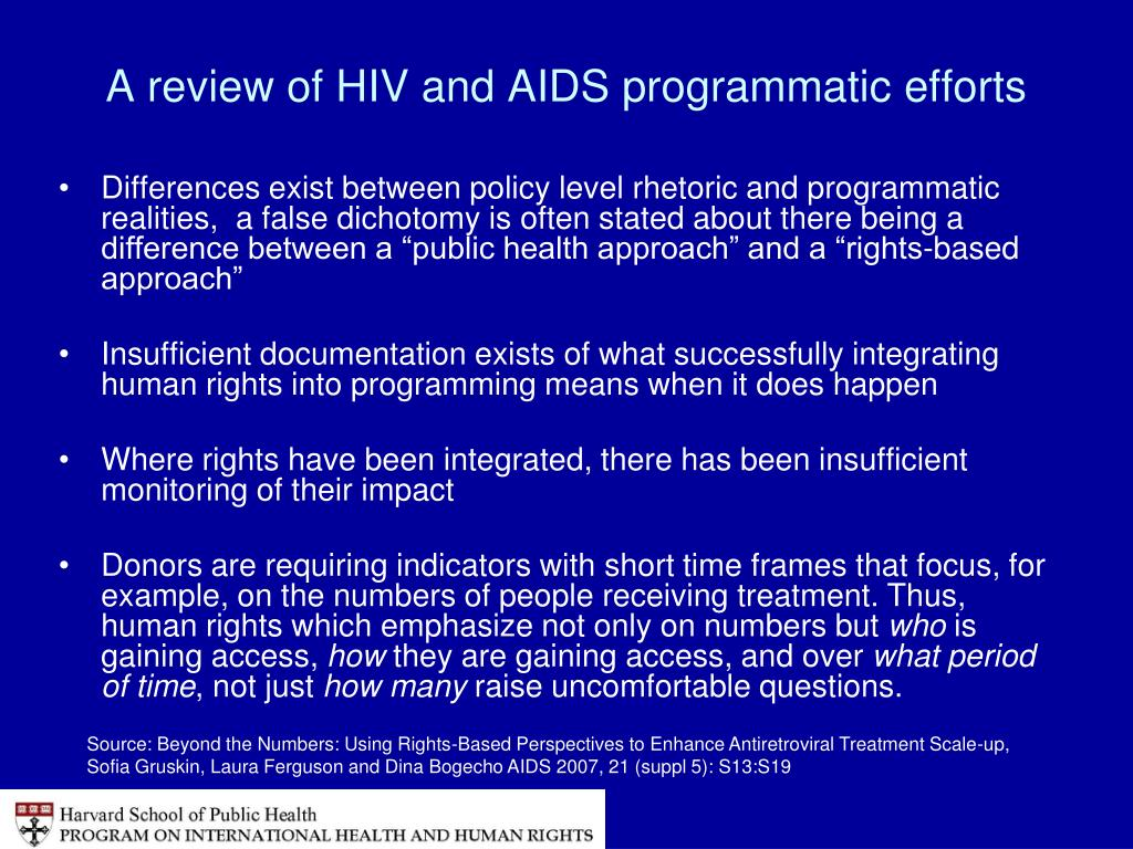 A review of HIV and AIDS programmatic efforts