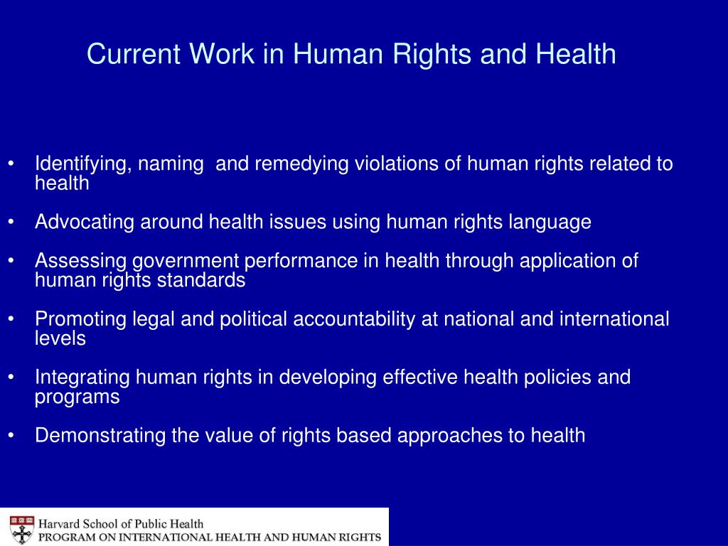 Current Work in Human Rights and Health