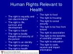 human rights relevant to health