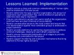 lessons learned implementation