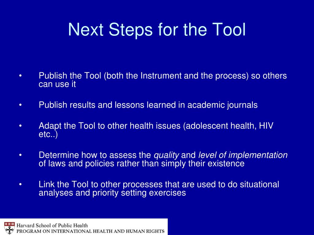 Next Steps for the Tool