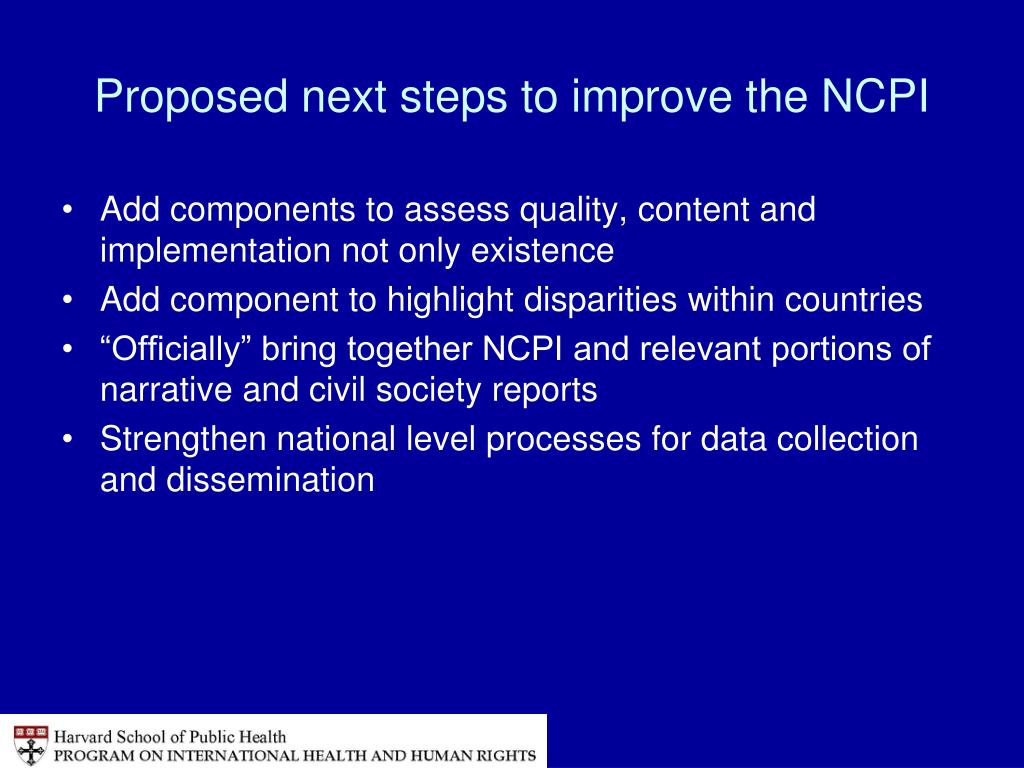 Proposed next steps to improve the NCPI