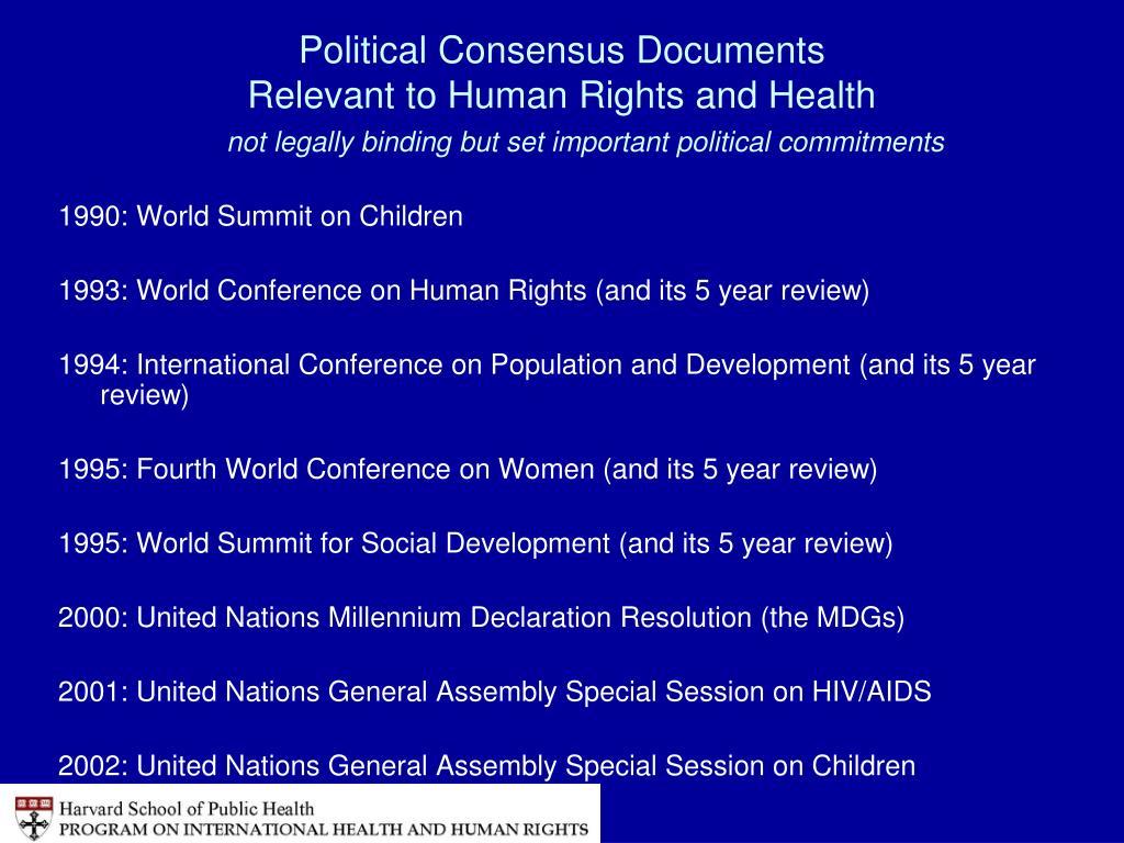 Political Consensus Documents