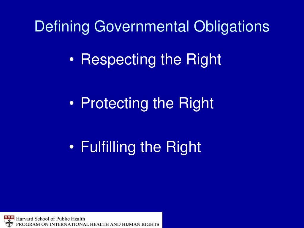 Defining Governmental Obligations