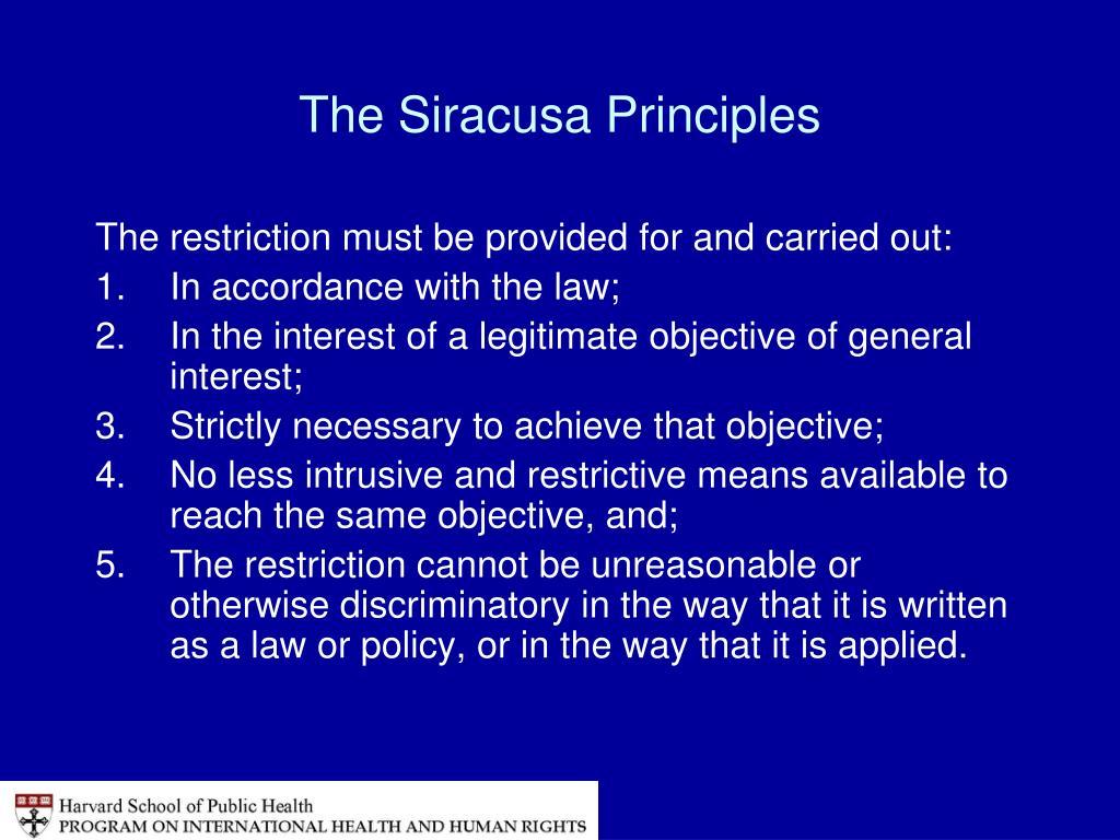 The Siracusa Principles