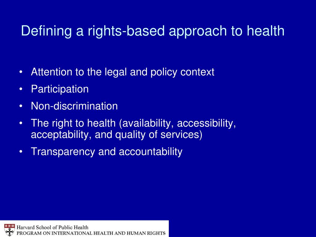 Defining a rights-based approach to health