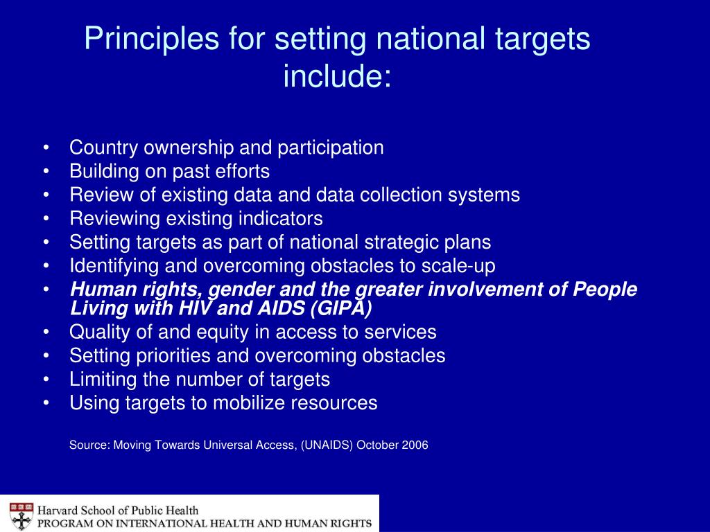 Principles for setting national targets include: