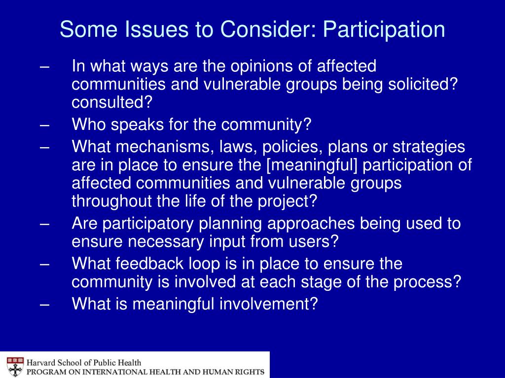 Some Issues to Consider: Participation