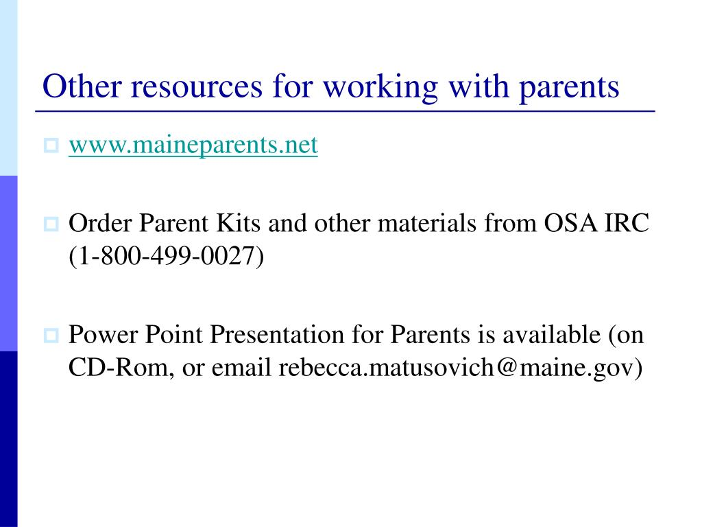 Other resources for working with parents