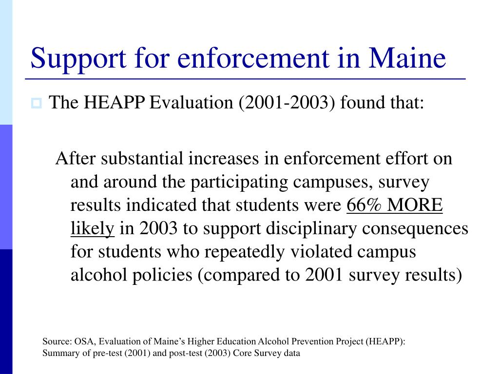 Support for enforcement in Maine