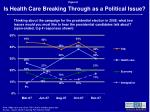 is health care breaking through as a political issue8