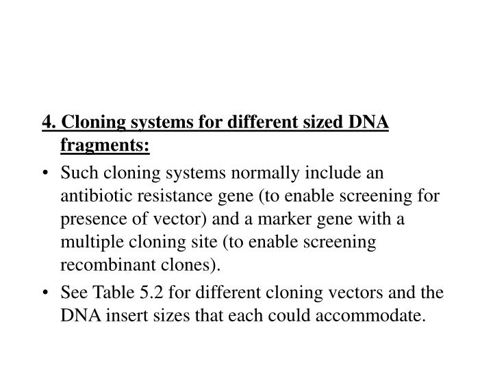 4. Cloning systems for different sized DNA fragments: