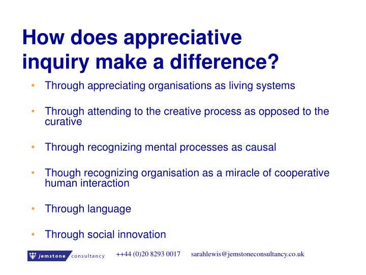 How does appreciative inquiry make a difference?