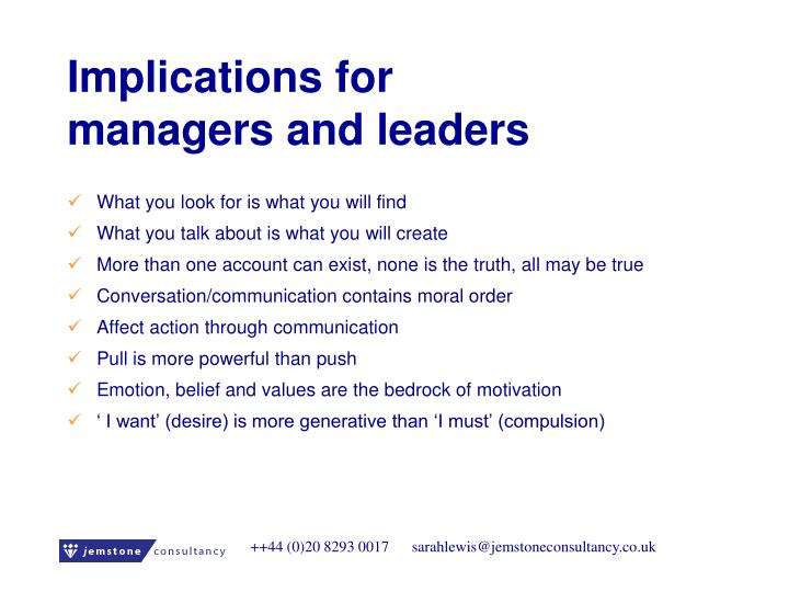 Implications for managers and leaders