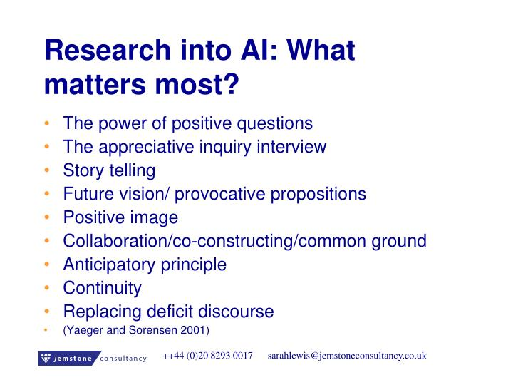 Research into AI: What matters most?