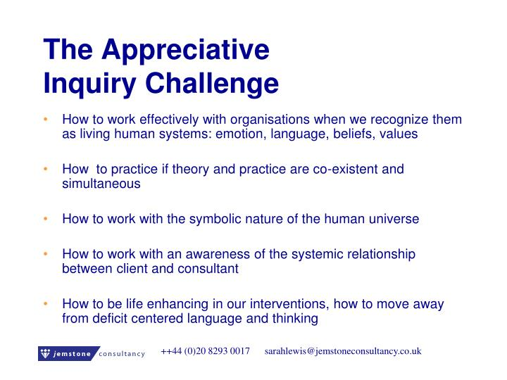 The appreciative inquiry challenge